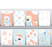 Set of cute animals poster,template,cards,bear,Vector illustrations Stock Photos