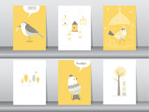 Set of cute animals poster,template,cards,bird,Vector illustrations Royalty Free Stock Image