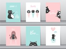 Set of cute animals poster,template,cards,cats,sweets,dessert, cartoons,summer,cute vectors,Vector illustrations Stock Photography