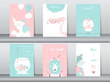 Set of cute animals poster,template,cards,elephant,bird,fish,bear,wolf,zoo,Vector illustrations. Set of cute animals poster,template,cards,elephant,bird,fish Royalty Free Stock Images