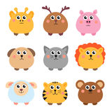 Set of cute animals rounded shape. Round animals. Vector illustration Royalty Free Stock Photography