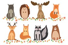 A set of cute animals on a white background isolated. Vector illustration in a flat style. Wild cat, hedgehog, elk, fox, deer, squ. Irrel, raccoon, and bear Royalty Free Stock Image