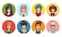 Set of cute anime characters avatar. Cartoon girls and boys portraits. Colorful hand drawn illustration collection. Stock Photo
