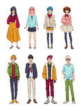 Set of cute anime characters. Cartoon girls and boys. Colorful hand drawn illustration collection. Stock Photos