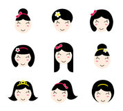 Set of cute anime girl characters with different hairstyles Royalty Free Stock Images