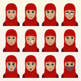 Set of cute arab woman emoticons. Stock Image