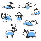 Set of cute arctic animals. Vector doodles isolated on white Stock Images