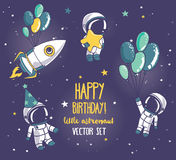 Set of cute astronauts and rocket in space for birthday party in cosmic style Stock Photo