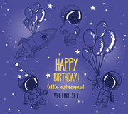 Set of cute astronauts and rocket in space for birthday party in cosmic style Royalty Free Stock Image