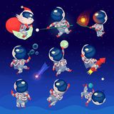 Set of cute astronauts in space. Working playing games and having fun. Astronauts in space suits with no gravity. Isolated vector images Royalty Free Stock Image