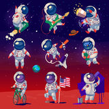 Set of cute astronauts in space Royalty Free Stock Photos