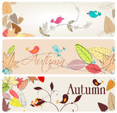 Set of cute autumn banners Royalty Free Stock Photography