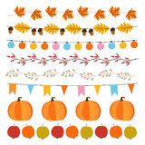 Set of cute autumn, fall garlands with lights, flags, acorns, leaves, pumpkins, apples and rose hips. Garden party decoration. Set of cute autumn, fall garlands Stock Images
