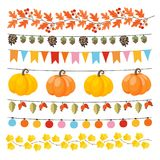 Set of cute autumn, fall garlands with lights, flags, acorns, leaves, pumpkins, pine cones and rose hips. Collection of. Thanksgiving garden party decorations royalty free illustration