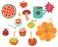 Set of cute autumn food Royalty Free Stock Photography