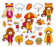 Set of cute autumn girls. stock illustration