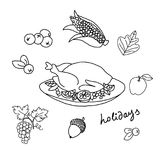 Thanksgiving Day. Template for coloring. A set of cute autumn icons: turkey, corn, apples, dry leaves and bunches of grapes hanging from the dish as if from a Royalty Free Stock Photo
