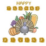 Thanksgiving Day. According to the old tradition. A set of cute autumn icons: turkey, pumpkin pie, bright young pumpkins, corn, apples, dry leaves and bunches of Stock Images