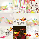 Set of cute autumn illustrations Stock Photo