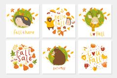 Set of 6 cute autumn postcards with animals royalty free illustration