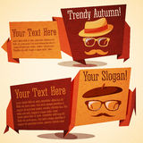 Set of cute autumn vintage stylized banners - Stock Images