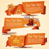 Set of cute autumn vintage stylized banners Stock Photos