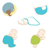 Set of cute babies sleeping Stock Photo