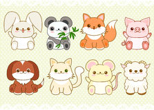 Set of cute baby animals in kawaii style Stock Images