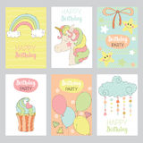 Set of cute Baby birthday cards Royalty Free Stock Image