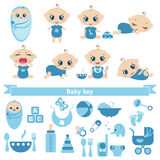 Set of cute baby boy. S and baby boy icons. 0-12 months. Various poses. First year activities Stock Images