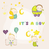 Set of Cute Baby Boy Illustrations - for Baby Shower. Or Arrival Card - in vector Royalty Free Stock Images