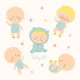 Set with cute baby boys. Growth from newborn to toddler. Various poses.First year. activities. Crawling, sitting Stock Photo