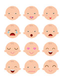 Set of cute baby emoticons, Adorable baby emotions flat modern style, cartoon baby boy faces, Vector Illustration stock illustration