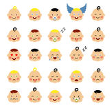 Set of cute baby emoticons. Cute baby faces showing different emotions. Vector icons on a white background. Modern flat vector style vector illustration