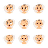 Set of cute baby emoticons very simple but expressive cartoon  faces vector. Stock Photos
