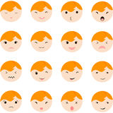 Set of cute baby faces showing different emotions,  illustration icons. Stock Image