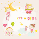 Set of Cute Baby Girl Illustrations - for Baby Shower Stock Photos