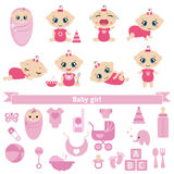 Set of cute baby girls. And baby girl icons. 0-12 months. Various poses. First year activities Stock Image