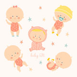 Set with cute baby girls. Growth from newborn to toddler. Various poses.First year. activities. Crawling, sitting. Standing, playing, smiling. Vector Stock Image