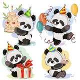 panda bear cake template - happy birthday panda vector stock vector illustration of
