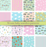 Set of 16 Cute baby seamless pattern. Retro pink, white and blue colors. Texture for wallpaper, web page background, fabric and pa Stock Photography