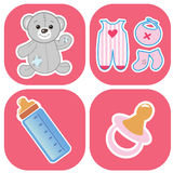 Set of cute babys icons Royalty Free Stock Image