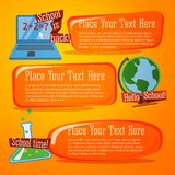 Set of cute back to school banners with computer,. Globe and chemistry flask Royalty Free Stock Photos