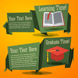 Set of cute back to school banners with text book. And graduation cap Royalty Free Stock Photo
