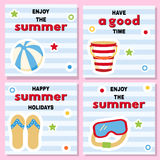 Set of cute backgrounds for summer vacation. Stock Photo