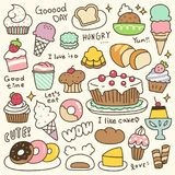 Set of Cute Bakery, Pastry and Dessert Doodle Stock Images