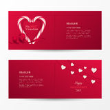 Vector set of cute banners for Happy Valentine`s day celebration with shape heart of candy canes, ribbon and garland with hearts. Vector set of cute banners for Royalty Free Stock Photo