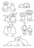 Set of dog and cat pairs. Set of cute Beagle dog and British short hair cat , in various posing royalty free illustration