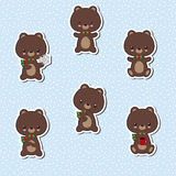 Set of cute bear stickers. Cartoon bear character. Royalty Free Stock Photos