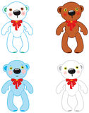 Set of cute bear toy. Stock Photos